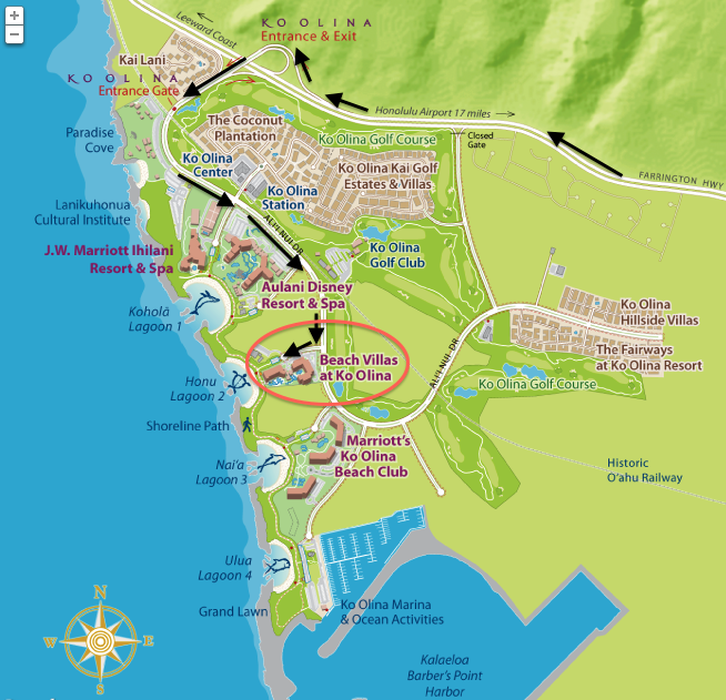 Maps Beach Villas Vacation Rentals Ko Olina Kapolei Oahu: Ko Olina Hotels Map At Slyspyder.com