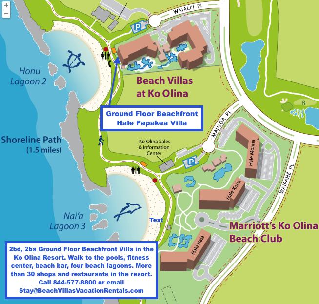 Map Of Ground Floor Hale Papakea Villa Beach Villas